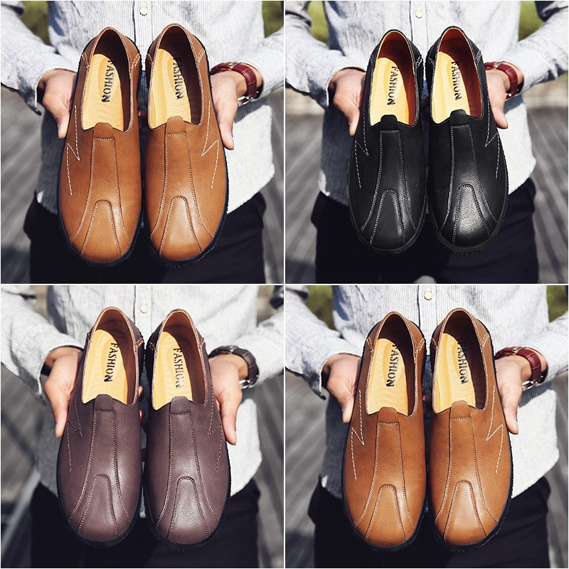 Men Soft Leather Round Toe Slip On Oxfords