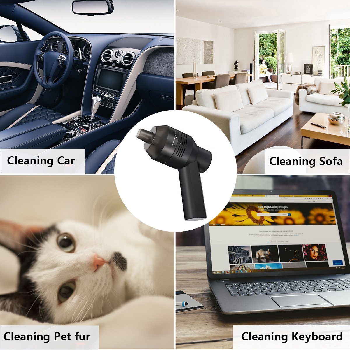 Rechargeable USB Mini Vacuum Cleaner For PC Keyboard Dust Cleaning Brush Handheld With Cleaning Glue