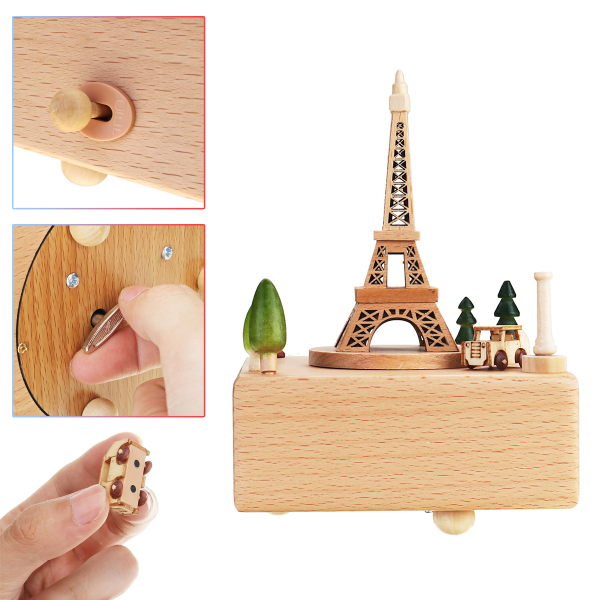 Carving Wooden Carousel Music Box Toy Vintage Kids Christmas Birthday Party Gift