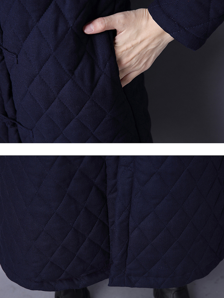 Patchwork Long Sleeve Plate Buckles Loose Thick Women Coat