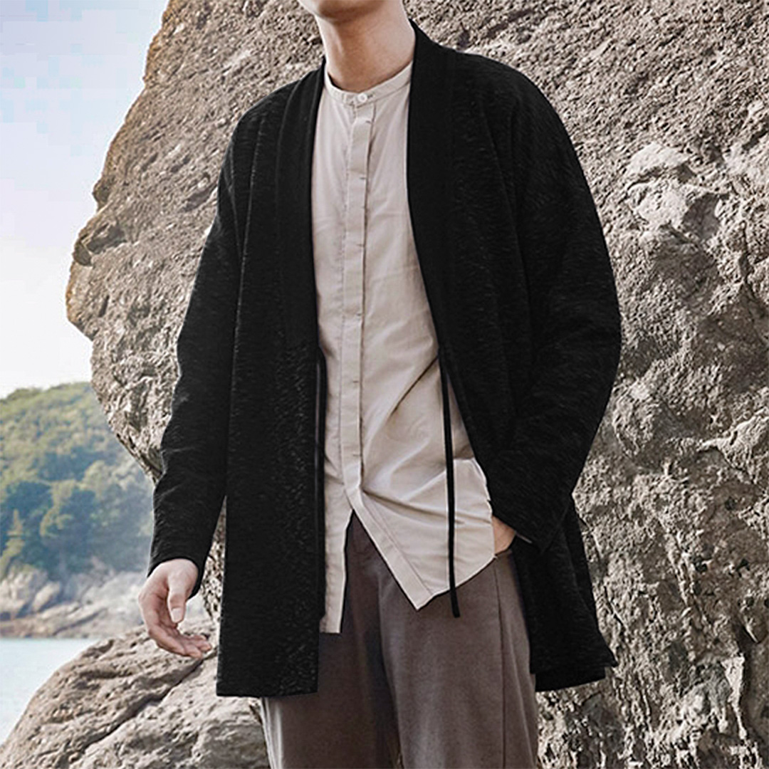 Mens Ethnic Style Loose Drawstring Casual Knit Cardigans