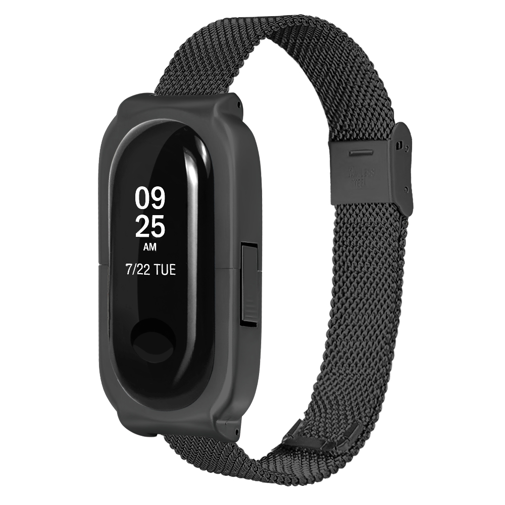 Bakeey Anti-lost Design Mesh Stainless Steel Watch Band for Xiaomi Miband 3
