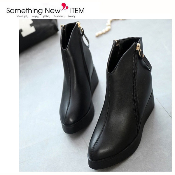 Women Black Wedge Zipper Ankle Boots Leather Shoes Platform Hidden Heel Poited Toe Boots