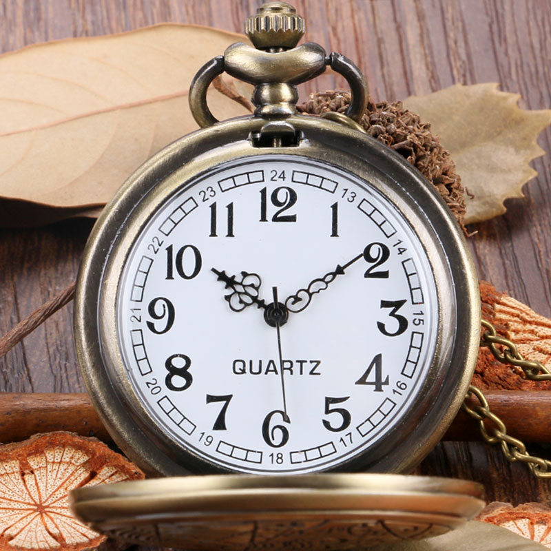 DEFFRUN Retro Bronze Romantic Style Quartz Pocket Watch