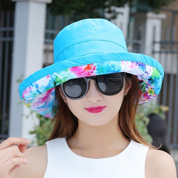 Women Double-side Summer Beach Foldable Visor Hat