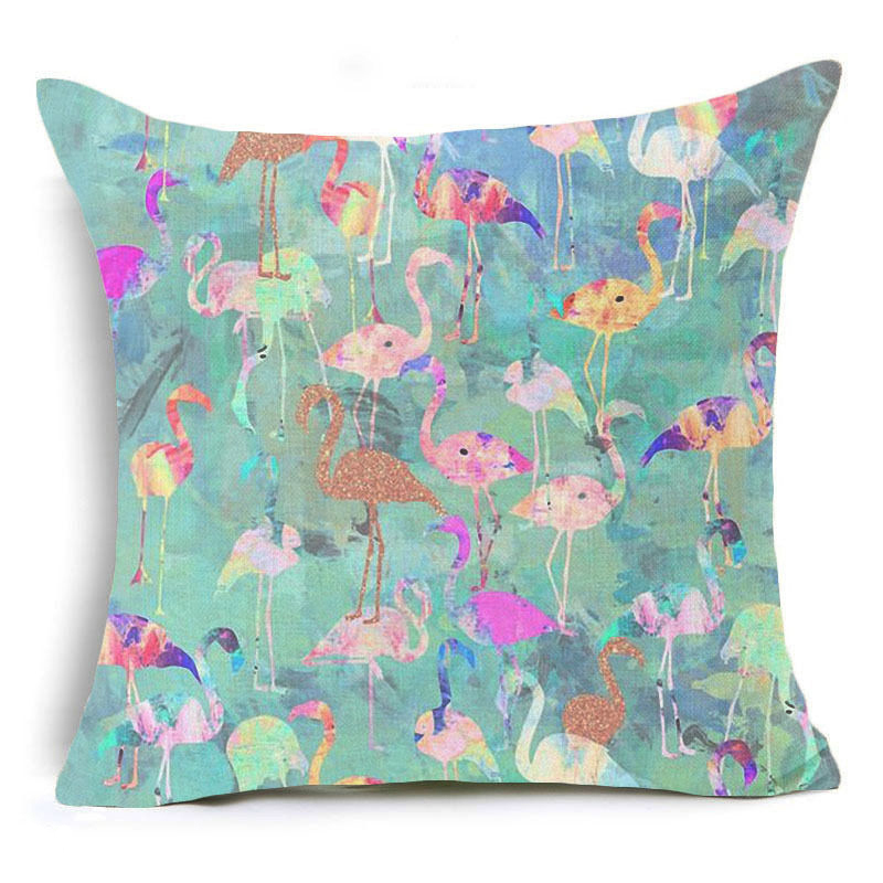 Honana 45x45cm Home Decoration Flamingo Palm Leaf Design 16 Optional Patterns Cotton Linen Pillowcases Sofa Cushion Cover