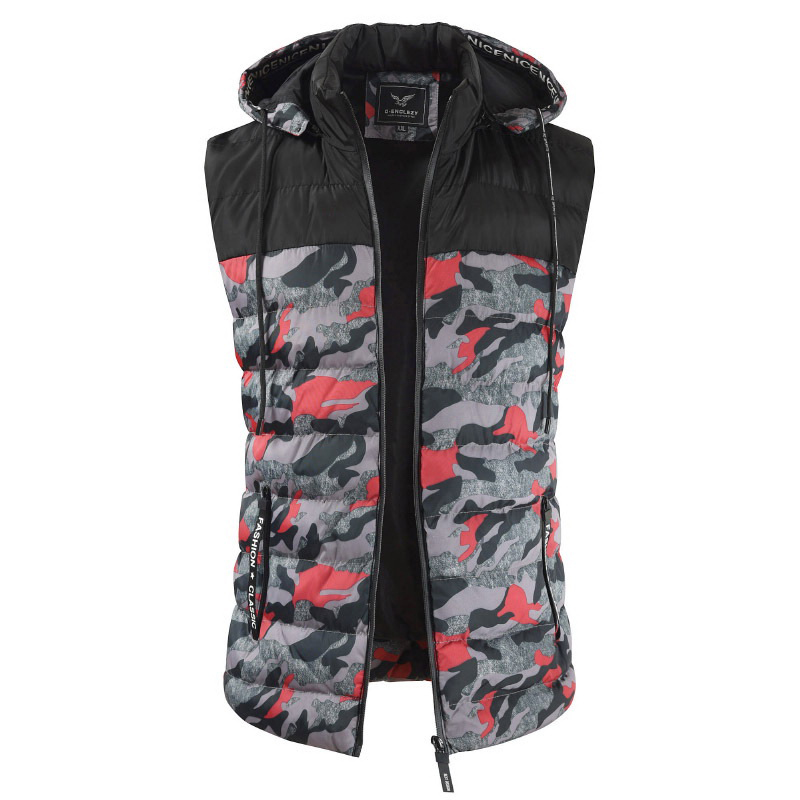 Mens Camo Patchwork Detachable Hooded Thick Warm Padded Vest