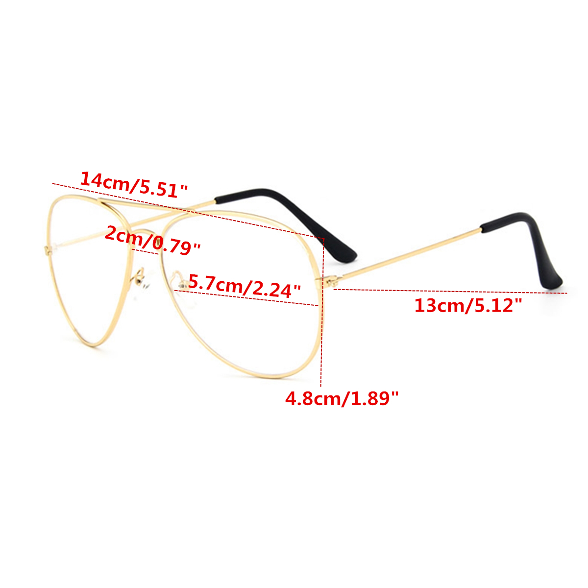 Unisex Aviator Pilot Shape Metal Frame Clear Lens Glasses