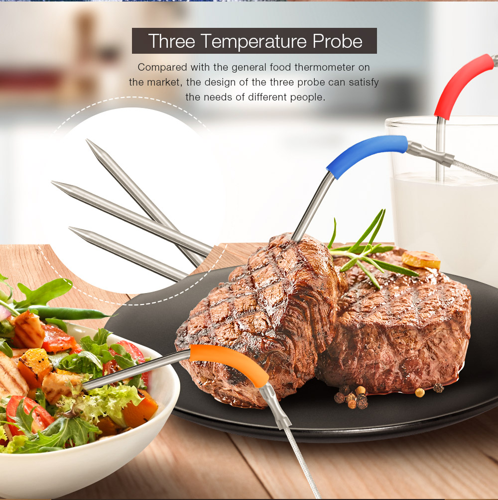 2PCS Digoo DG FT2303 Three Channels Smart Bluetoorh LED Display BBQ Kitchen Cooking Thermometer With Three Stainless Steel Metal Probes