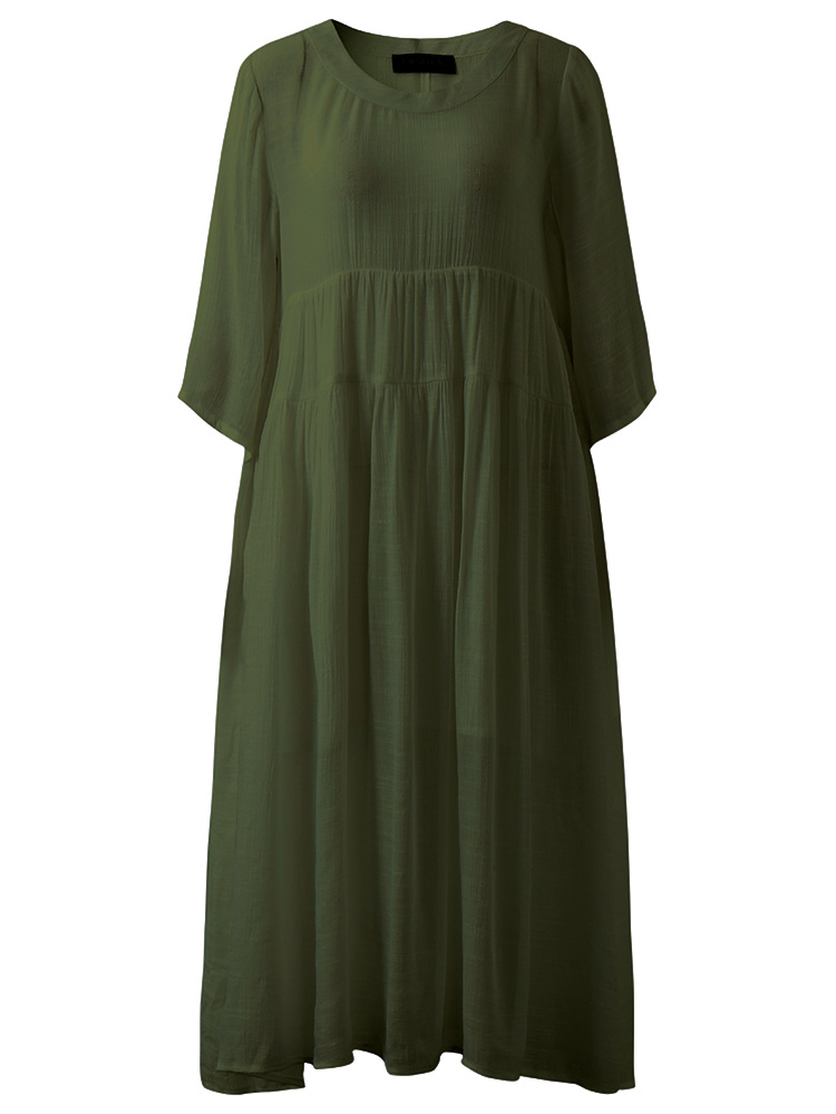 Women Pure Color 3/4 Sleeve Loose Swing Maxi Dress
