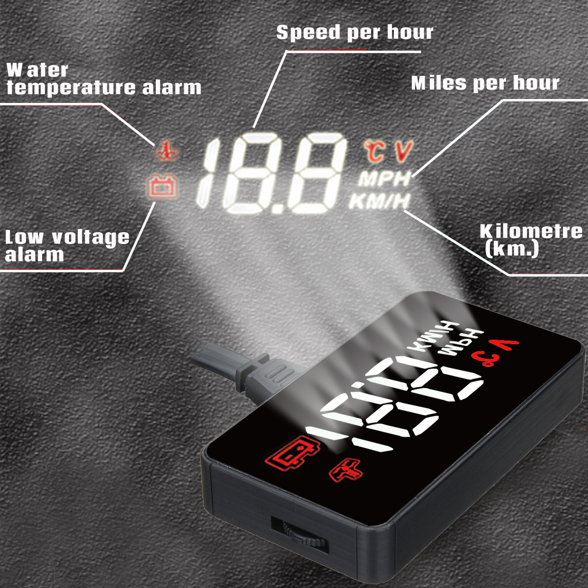 A100 Universal Car GPS Speedometer OBD2 II Head Up Display Speed Warning Alarm System