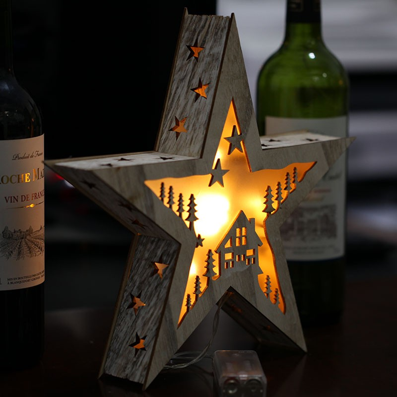 Christmas Wooden LED Lights Crafts Pentagram Pendant Table Lamp Flashing Star Lights Birthday Gifts