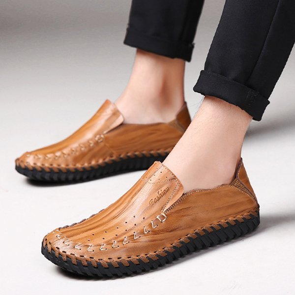 Men Hand Stitching Genuine Leather Slip On Oxfords Shoes