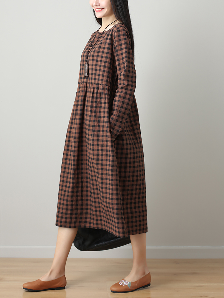 Women Plaid O-neck Long Sleeve Dress