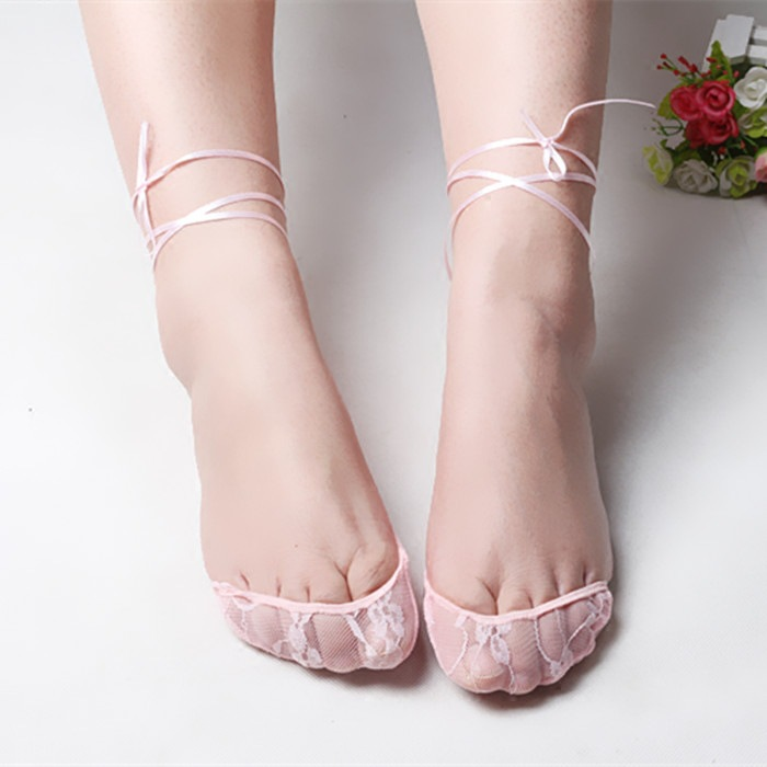 Women Girls Ultra Thin Mesh Lace Sexy Boat Socks Breathable Invisible Non-slip Elastic Nylon Socks