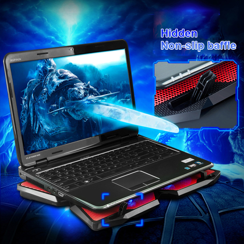 CoolCold Ice Magic 2 Notebook Cooler 4 Fan 2 USB LED Laptop Cooler Cooling Pad Computer Stand