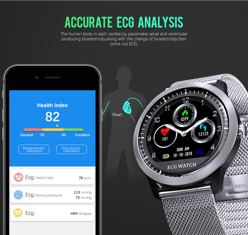 Bakeey N58 ECG Display Stainless Steel HR Sleep Monitor 3D UI Multi-sport Fitness Tracker Smart Watch