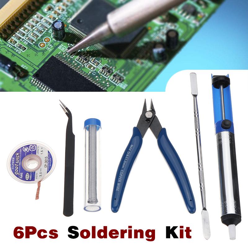 6Pcs Solder Iron Soldering Tool Kit Set Desoldering Pump Tweezers Cutters Flux Wick Scraper
