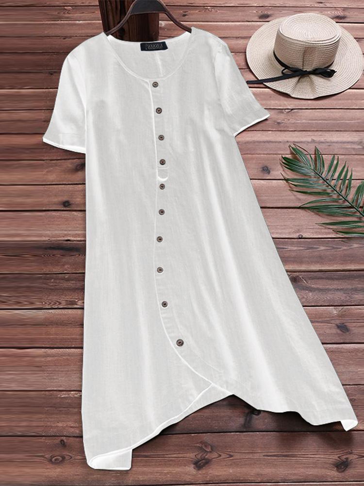 S-5XL Women Cotton Loose Short Sleeve Shirt Dress