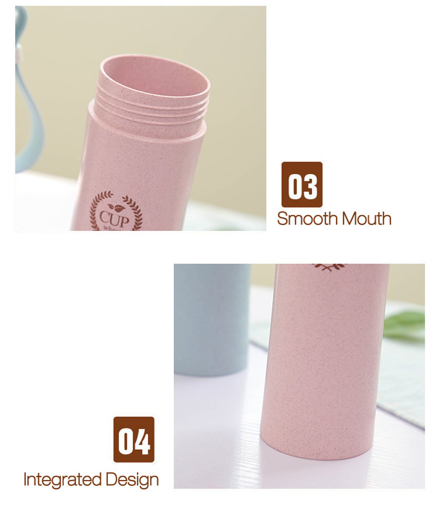 KCASA KC-WHE04 360mL Wheat Straw Fiber Bottle Portable Mug Travel Outdoor Sports Water Cup Creative