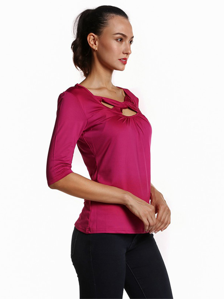 Silm Front Twisted Cross Half SLeeve Square Collar Women T-shirt