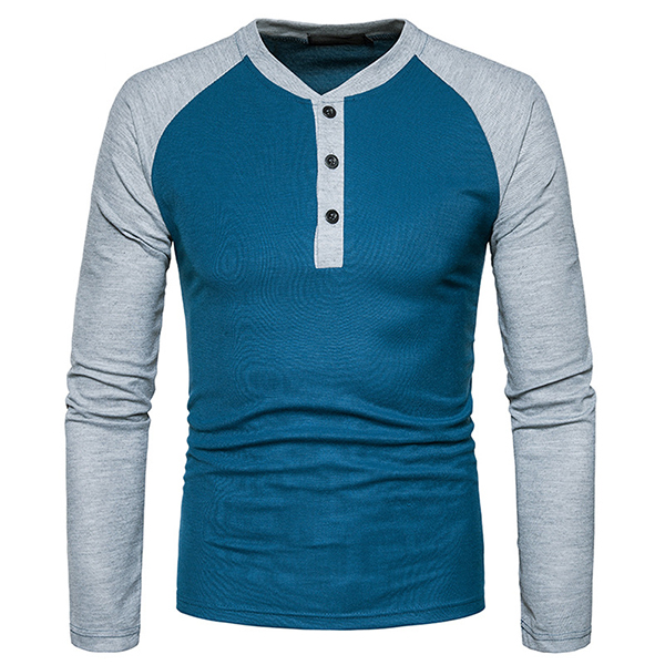 Men's Henry Collar Spell Color T-shirt Casual Buttons Half-cardigan Long Sleeve T-shirt
