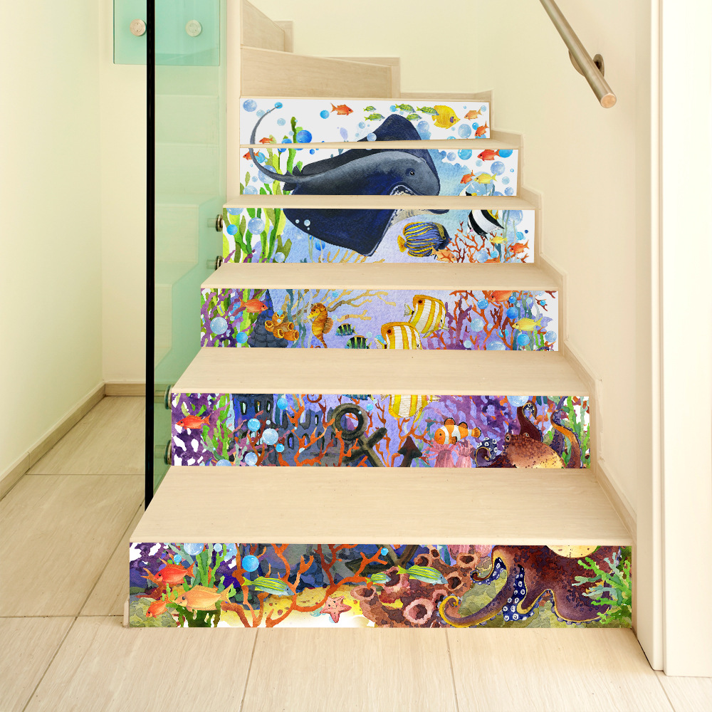 Miico 6Pcs/set Creative Cartoon Blue Undersea Stair Sticker Home Decor Mural Art Removable Wall Decals