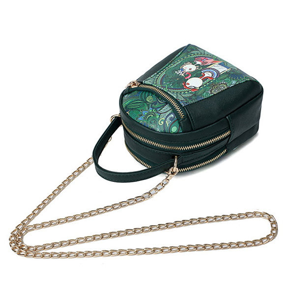 Women Chain Forest Print Casual Crossbody Bag