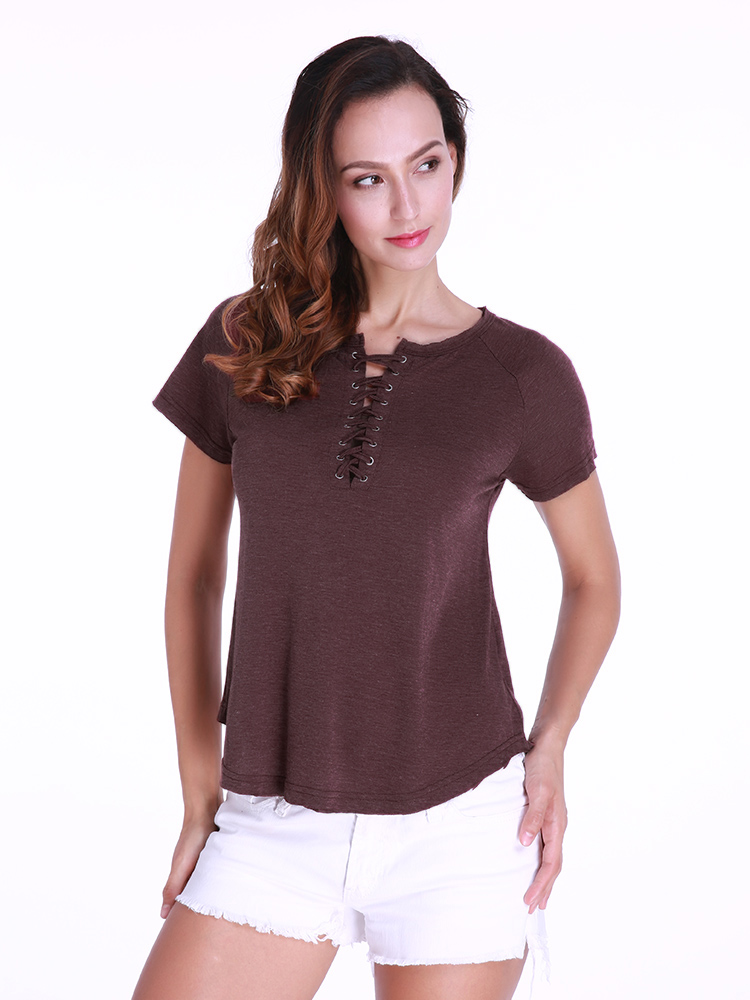 Casual Women Lace-up Solid Color T-shirts