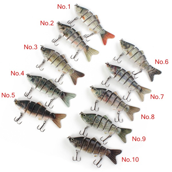 Proberos Multi-jointed Bass Fishing Bait Swimbait Lure 6 Sections Bait