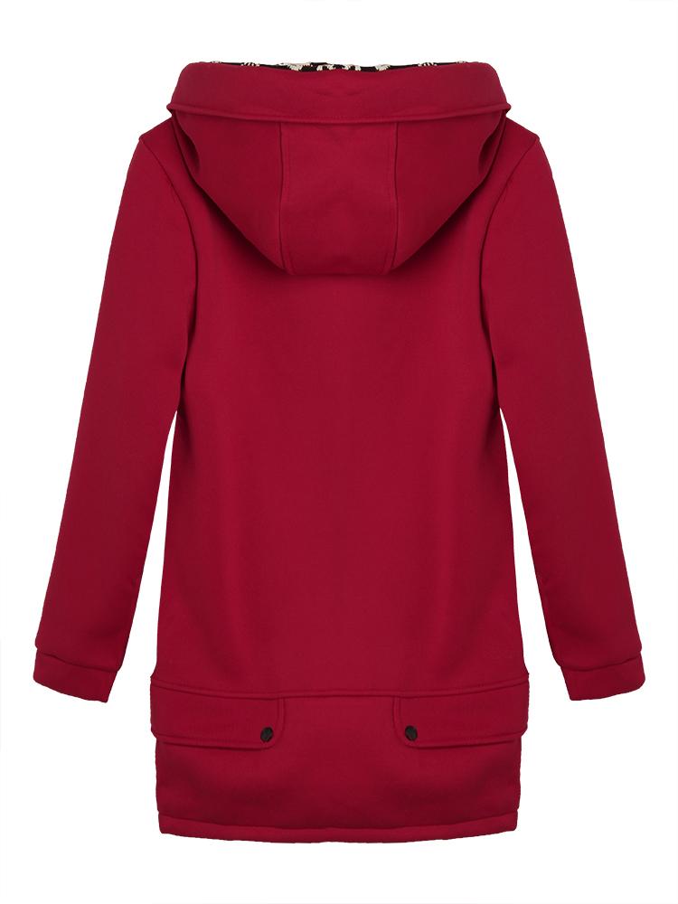 Slim Velvet Patchwork Pocket Long Zipper Hood Coat