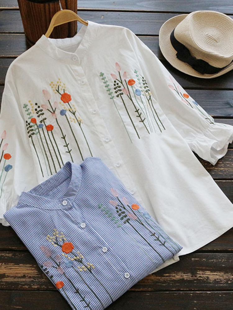 Floral Embroidered Casual Women Striped Button Down Shirt