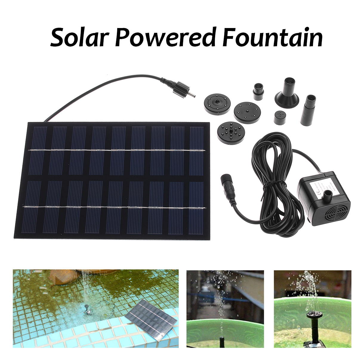 Solar Pump Solar Power Water Pump Panel Kit Fountain Pond Pool Water Garden Submersible Water Pump