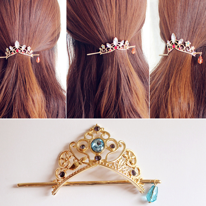 Sweet Crown Hairpin Cute Gold Hair Accessories Star Pendant