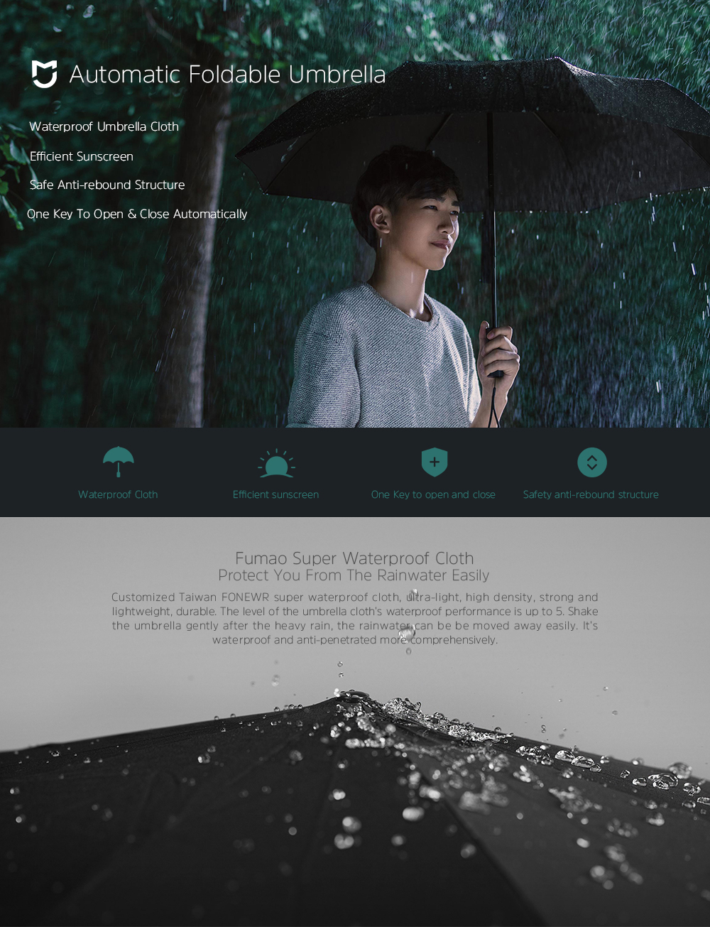 Original Xiaomi Automatic Folding Umbrella Anti-UV Men Women Luxury Big Windproof Umbrellas Wind Resistant Rain Gear for Sunny and Rainy Days