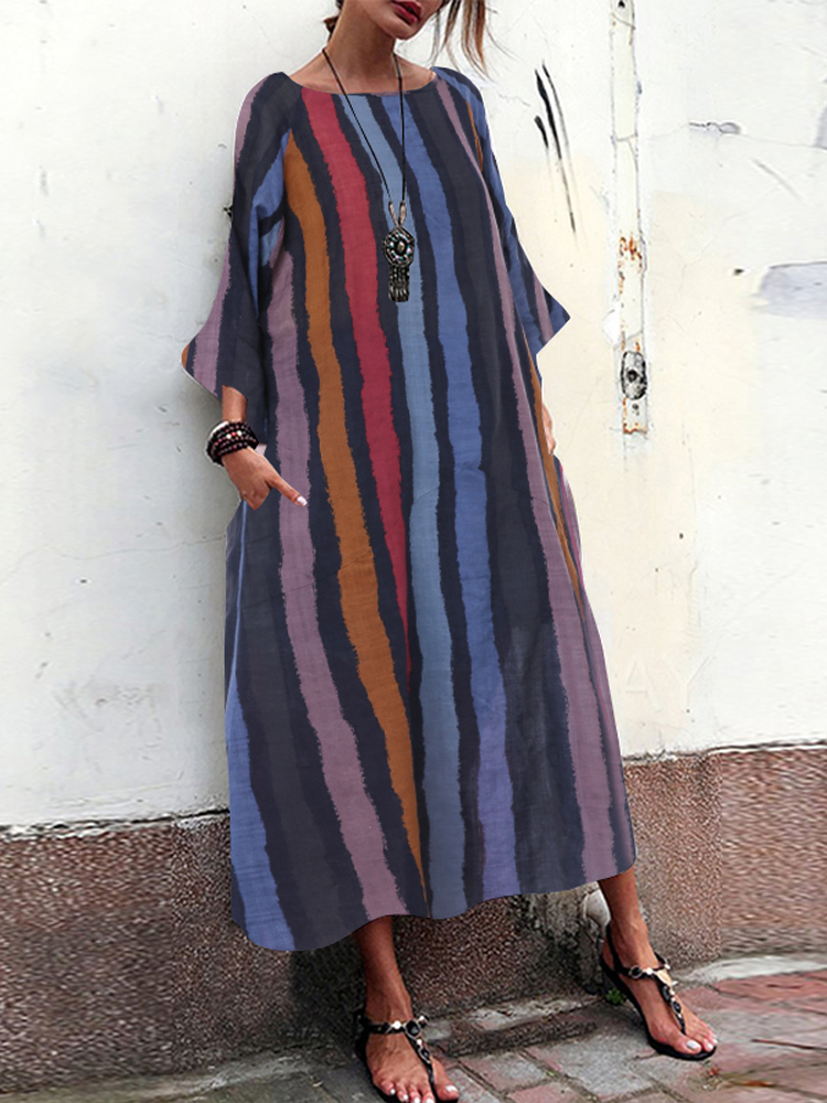 Women Long Sleeve Crew Neck Pocket Striped Maxi Dress