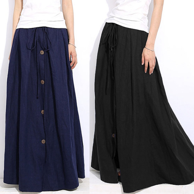 Casual Women Elastic Waist Maxi Skirt