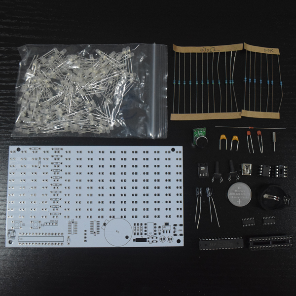 DIY FFT1625 Digital Clock Music Spectrum Electronic Kit With Temperature Display With Housing