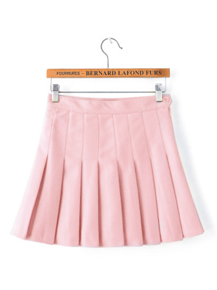 Sweet High Waist Pleated Button Women Tennis Mini Skirts