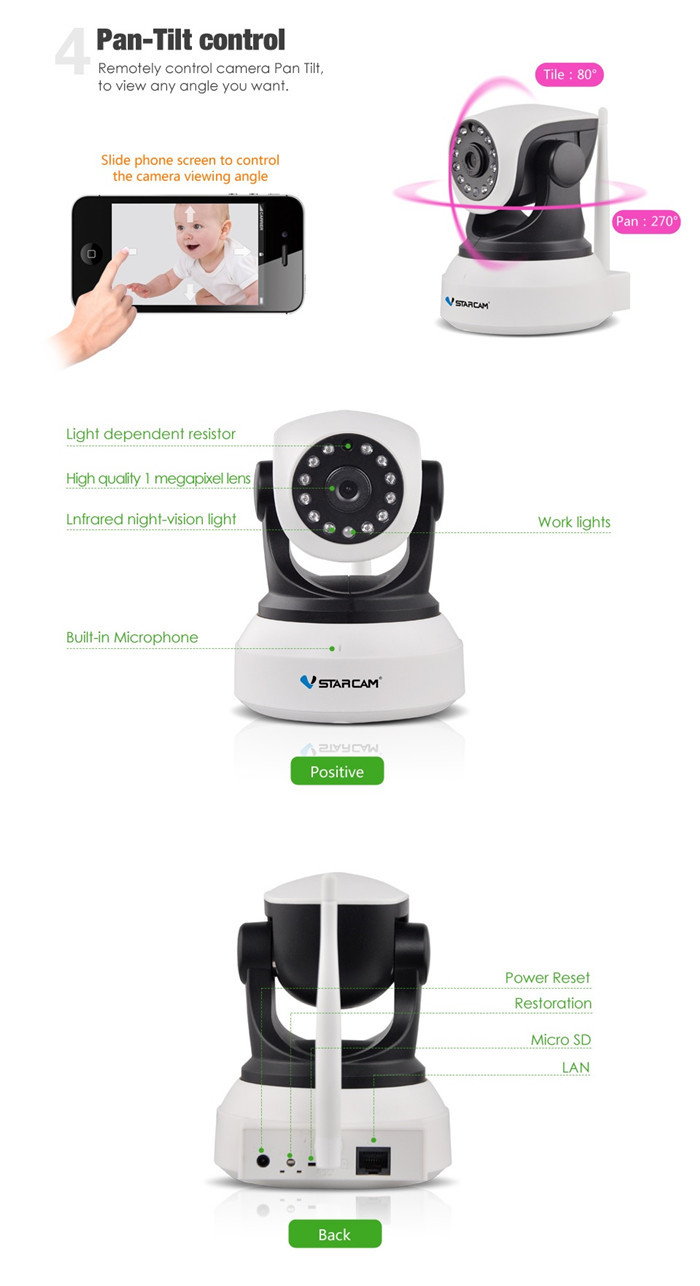 VStarcam C7824WIP 720P Wireless IP Camera IR-Cut Onvif Video Surveillance Security CCTV Network Camera