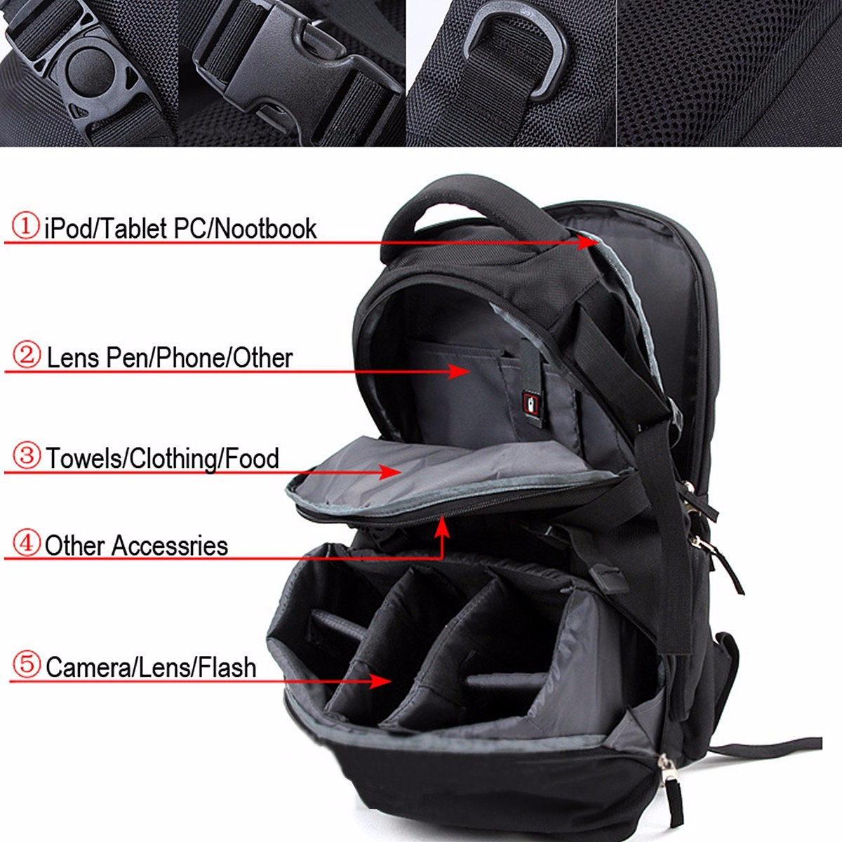 Nylon Waterproof Shockproof Camera Laptop Bag Lens Case Backpack For Canon Nikon SLR DSLR Camera