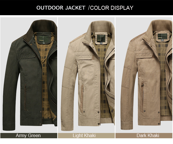 Mens Cotton Plus Size Casual Stand Collar Jacket Autumn Solid Color Coat