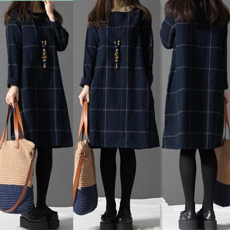 Casual Women Plaid Pocket Cotton Linen Dress