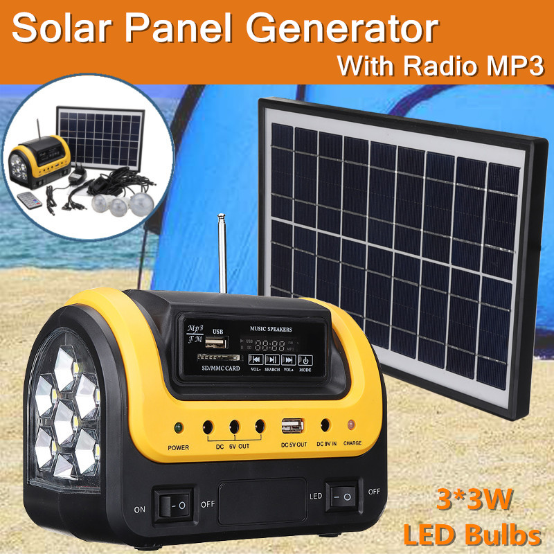 Solar Generator DC Solar Powered System with Radio MP3 Solar Flashlight Power Supply