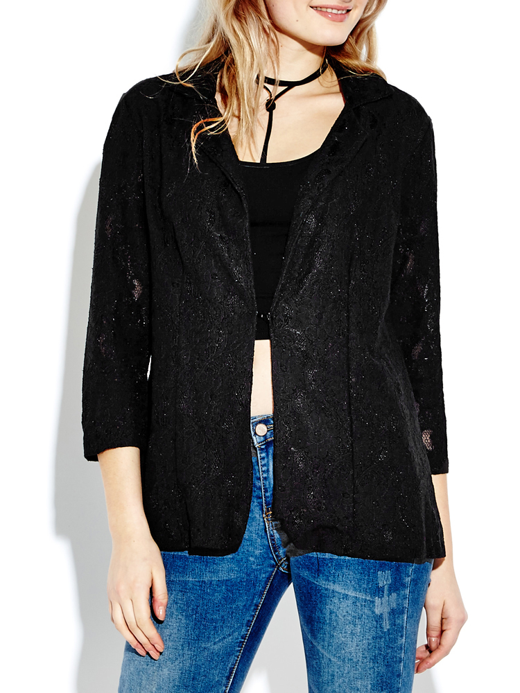Elegant Women Lapel Black Lace Crochet Hollow One Button Blazer