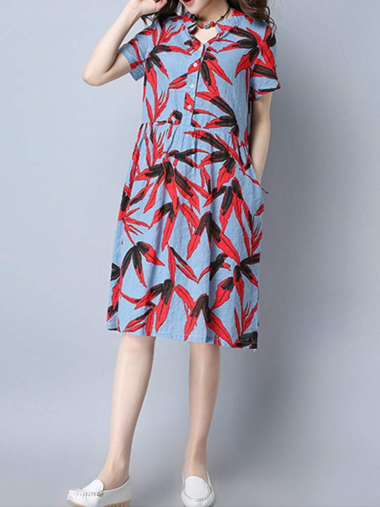 Floral Printed Dress Button Short Sleeve Loose Women Dresses