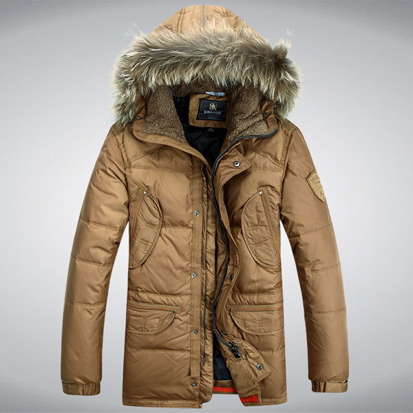 Men Winter Down Jacket Protective Cold Windproof Hooded Coat