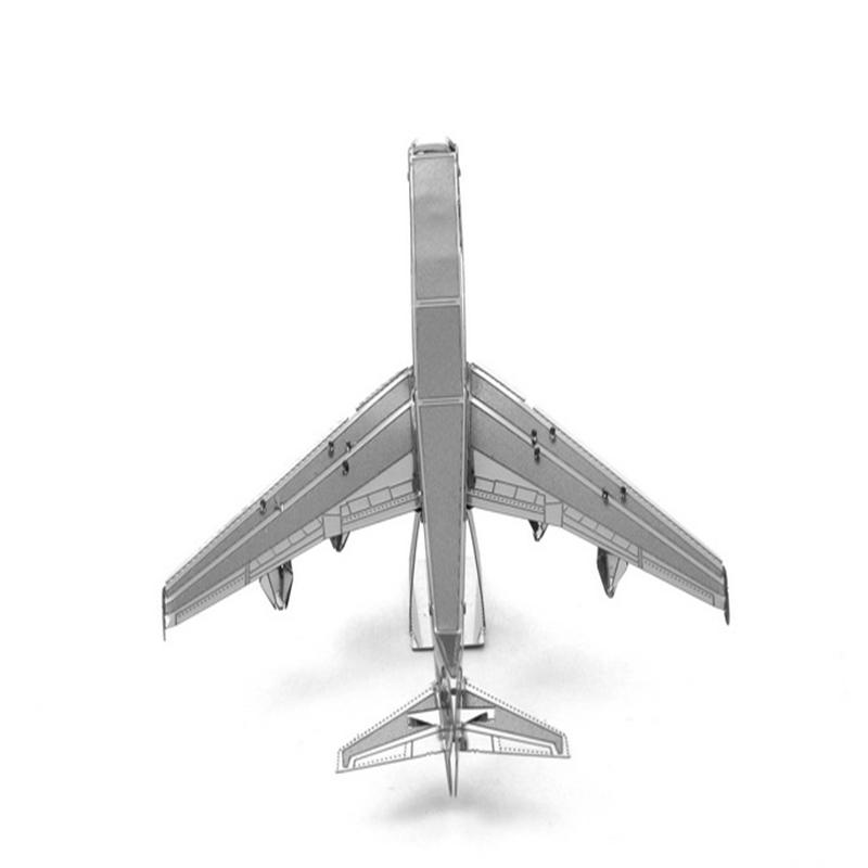 Aipin DIY 3D Puzzle Stainless Steel Assembled Model Boeing 747 Silver Color For Kids Children Gift
