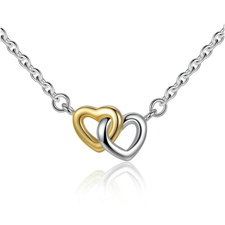 Classic Heart Pendant Necklace Silver Gold Heart to Hea