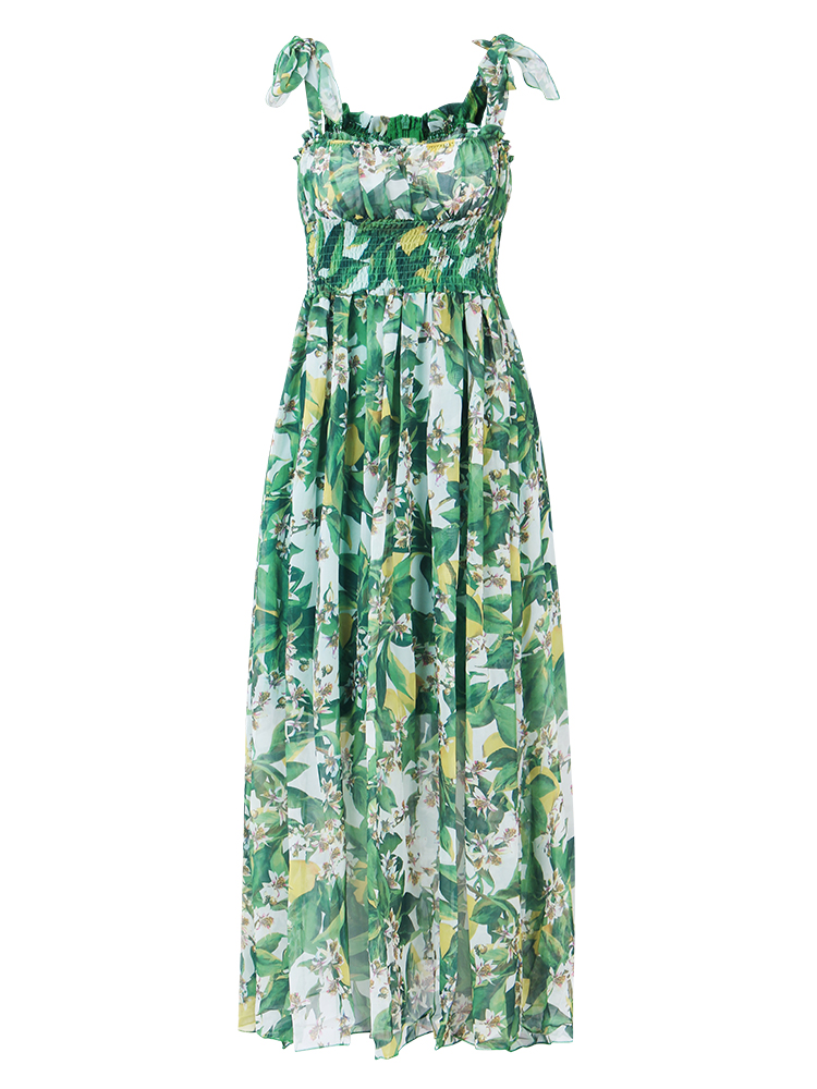 Gracila Green Women Floral Printed Elastic High Waist Sleeveless Boho Maxi Dresses